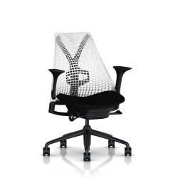 Fauteuil Sayl Herman Miller Noir / Dossier Suspension Studio White / Assise Havana