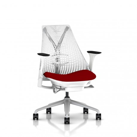Fauteuil Sayl Herman Miller Fog-Blanc / Dossier Suspension Studio White / Assise Panama