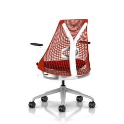Fauteuil Sayl Herman Miller Fog-Blanc / Dossier Suspension Red / Assise Panama