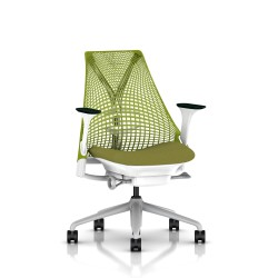 Fauteuil Sayl Herman Miller Fog-Blanc / Dossier Suspension Green Apple / Assise Appledore