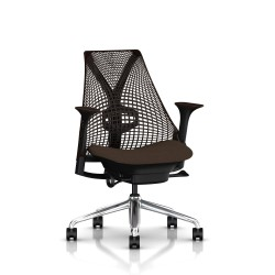 Fauteuil Sayl Herman Miller Alu Poli-Noir / Dossier Suspension Java  / Assise Bounty