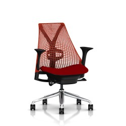 Fauteuil Sayl Herman Miller Alu Poli-Noir / Dossier Suspension Red / Assise Panama