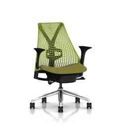 Fauteuil Sayl Herman Miller Alu Poli-Noir  / Dossier Suspension Green Apple  / Assise Appledore