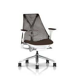 Fauteuil Sayl Herman Miller Alu Poli-Blanc / Dossier Suspension Java / Assise Bounty