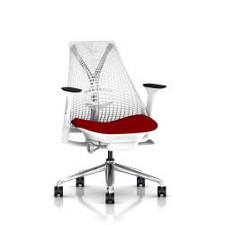 Fauteuil Sayl Herman Miller Alu Poli-Blanc / Dossier Suspension Studio White / Assise Panama