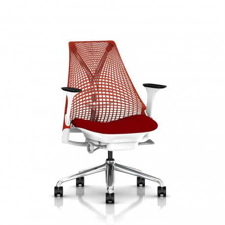 Fauteuil Sayl Herman Miller Alu Poli-Blanc / Dossier Suspension Red / Assise Panama