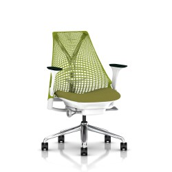 Fauteuil Sayl Herman Miller Alu Poli-Blanc / Dossier Suspension Green Apple / Assise Appledore