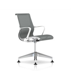 Fauteuil Setu Herman Miller H-Alloy / Structure Studio White / Lyris Alpine