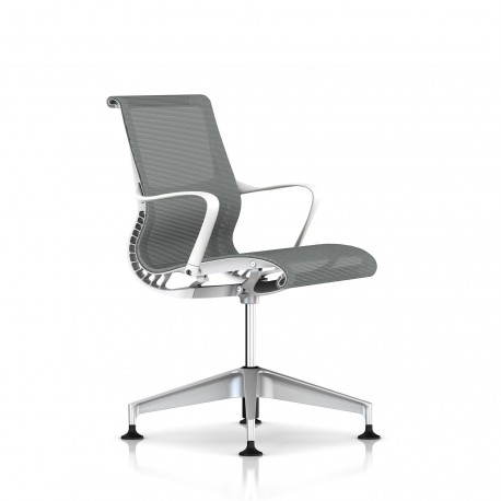 Fauteuil Setu Herman Miller H-Alloy / Structure Studio White / Lyris Alpine