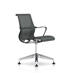 Fauteuil Setu Herman Miller Alu Semi Poli / Structure Slate Grey / Lyris Slate Grey