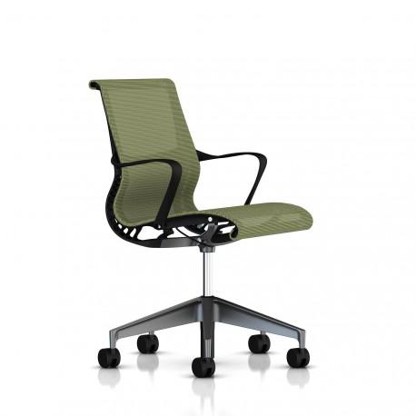Fauteuil Setu Herman Miller Graphite / Structure Graphite / Lyris Chartreuse