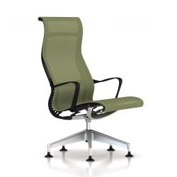 Fauteuil Setu Lounge Herman Miller H-Alloy / Structure Graphite / Lyris Chartreuse