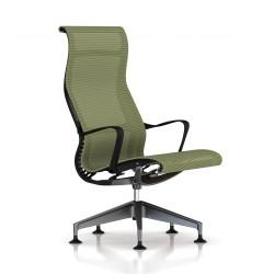 Fauteuil Setu Lounge Herman Miller Graphite / Structure Graphite / Lyris Chartreuse