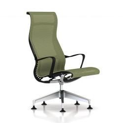 Fauteuil Setu Lounge Herman Miller Alu Semi Poli / Structure Graphite / Lyris Chartreuse