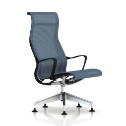Fauteuil Setu Lounge Herman Miller Alu Semi Poli / Structure Graphite / Lyris Berry Blue