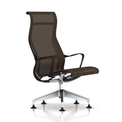 Fauteuil Setu Lounge Herman Miller Alu Semi Poli / Structure Java / Lyris Java