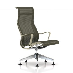 Fauteuil Setu Lounge Herman Miller Alu Semi Poli / Structure Chino / Lyris Chino