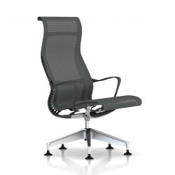 Fauteuil Setu Lounge Herman Miller Alu Semi Poli / Structure Slate Grey / Lyris Slate Grey