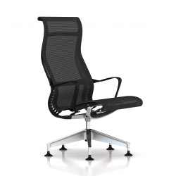 Fauteuil Setu Lounge Herman Miller Alu Semi Poli / Structure Studio White / Lyris Alpine