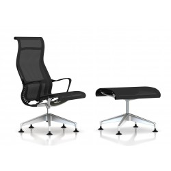 Fauteuil Setu Lounge + Ottoman Herman Miller H-Alloy / Structure Graphite / Lyris Graphite