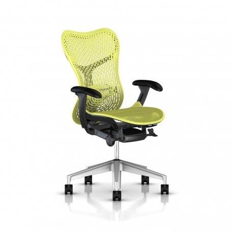 Fauteuil Mirra 2 Herman Miller H-Alloy Graphite / Triflex Lime Green