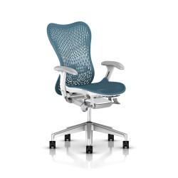 Fauteuil Mirra 2 Herman Miller H-Alloy Studio White / Triflex Dark Turquoise