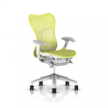 Fauteuil Mirra 2 Herman Miller H-Alloy Studio White / Triflex Lime Green