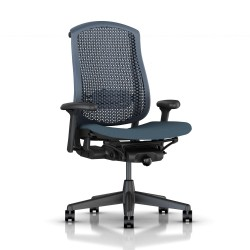 Fauteuil Celle Herman Miller Graphite / cellulaire Blue Fog / Assise tissu