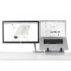 Support pour ordinateur portable et pour écran avec 2 bras flo et fixation double 0-71mm - silver