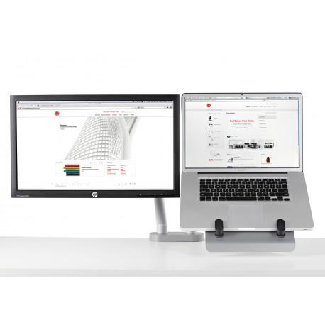 Support pour ordinateur portable et pour écran avec 2 bras flo et fixation double 0-71mm - blanc