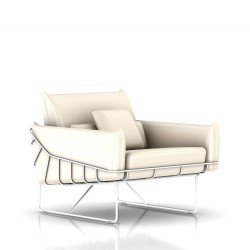 Fauteuil Wireframe Herman Miller 1 place - blanc - Cuir Ivory
