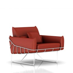 Fauteuil Wireframe Herman Miller 1 place - blanc - Cuir Canyon