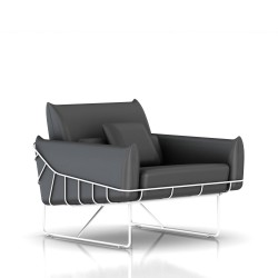 Fauteuil Wireframe Herman Miller 1 place - blanc - Cuir Smoke