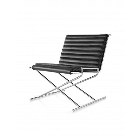 Siège Sled Herman Miller - chrome - cuir noir 2109