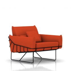 Fauteuil Wireframe Herman Miller 1 place - noir - Tissu Hopsak Orange