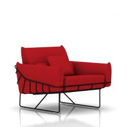Fauteuil Wireframe Herman Miller 1 place - noir - Tissu Hopsak Crimson