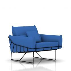 Fauteuil Wireframe Herman Miller 1 place - noir - Tissu Hopsak Cobalt Blue