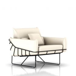 Fauteuil Wireframe Herman Miller 1 place - noir - Cuir Ivory