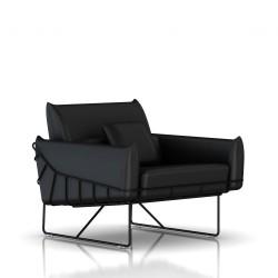 Fauteuil Wireframe Herman Miller 1 place - noir - Cuir Noir