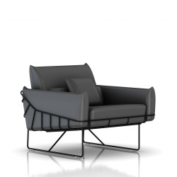 Fauteuil Wireframe Herman Miller 1 place - noir - Cuir Smoke