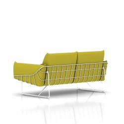Canapé Wireframe Herman Miller 2 places - blanc - Tissu Hopsak Yellow Dark