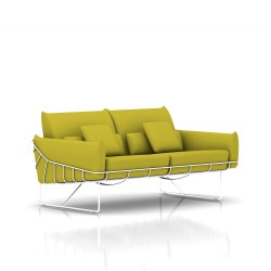 Canapé Wireframe Herman Miller 2 places - blanc - Tissu Hopsak Yellow Dark