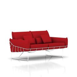 Canapé Wireframe Herman Miller 2 places - blanc - Tissu Hopsak Crimson