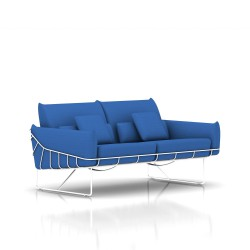 Canapé Wireframe Herman Miller 2 places - blanc - Tissu Hopsak Cobalt Blue