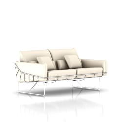 Canapé Wireframe Herman Miller 2 places - blanc - Cuir Ivory