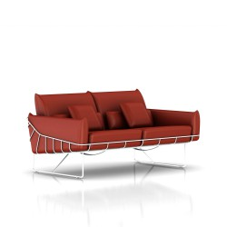 Canapé Wireframe Herman Miller 2 places - blanc - Cuir Canyon