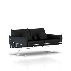 Canapé Wireframe Herman Miller 2 places - blanc - Cuir Noir