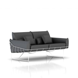 Canapé Wireframe Herman Miller 2 places - blanc - Cuir Smoke