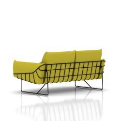 Canapé Wireframe Herman Miller 2 places - noir - Tissu Hopsak Yellow Dark