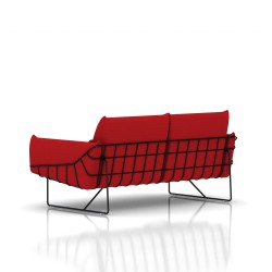 Canapé Wireframe Herman Miller 2 places - noir - Tissu Hopsak Crimson